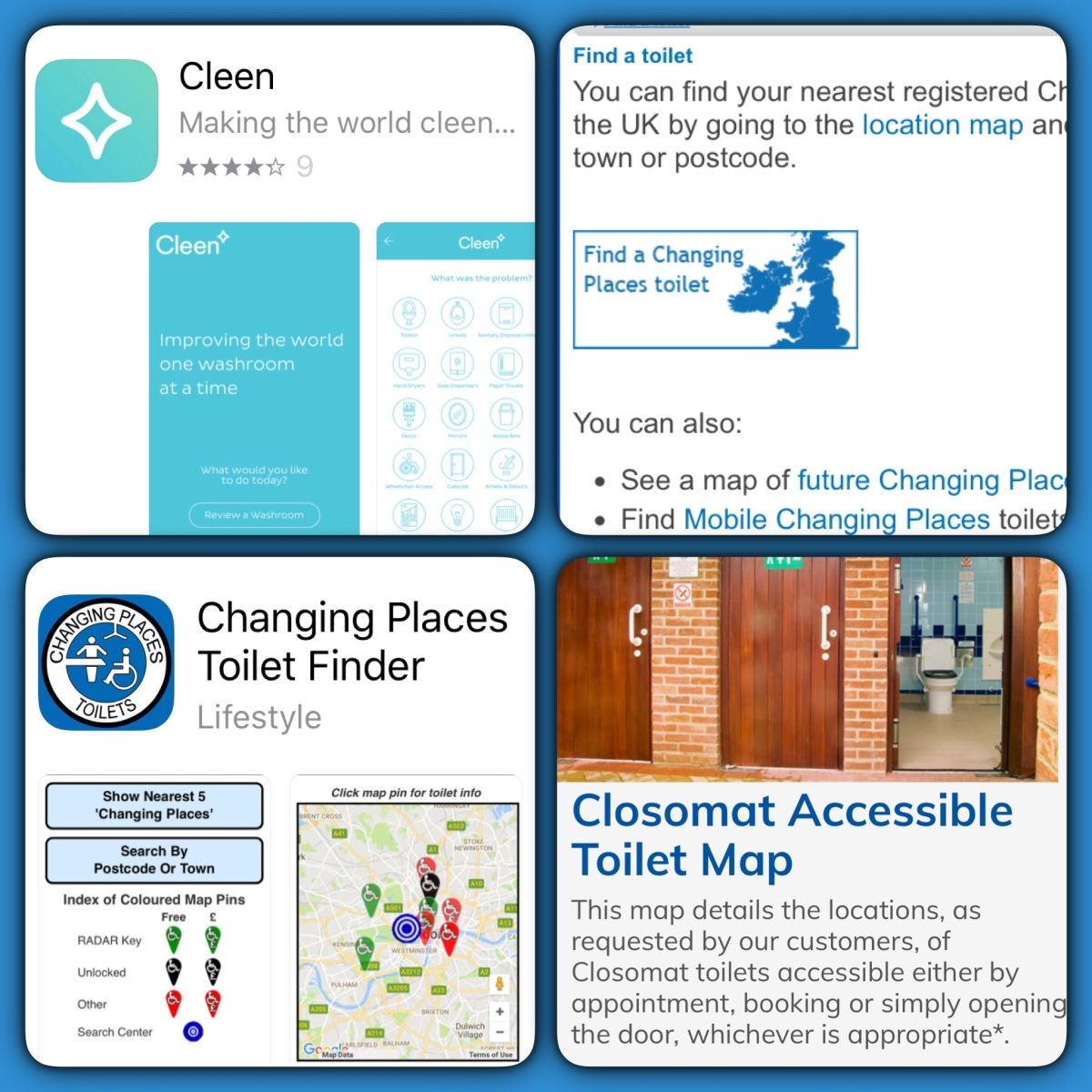 Toilet finding/rating Apps – The world of accessible toilets